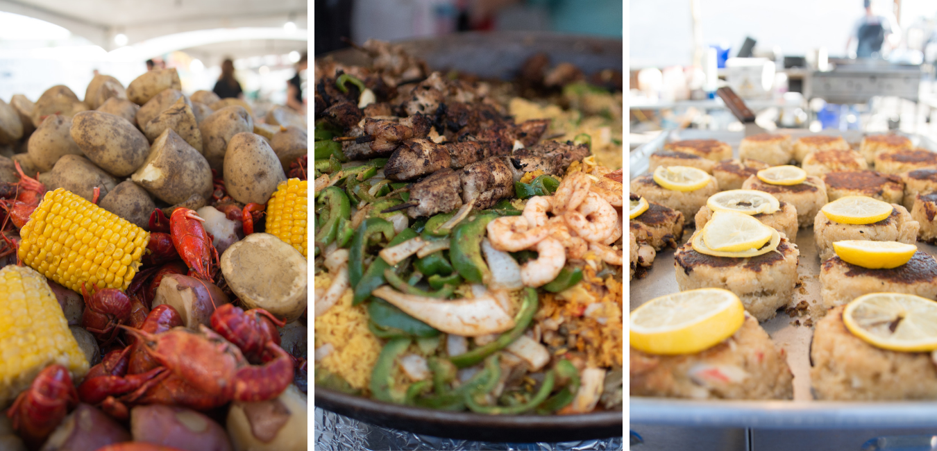 Three Images of Food. Left To Right: First Image is of Crawfish, Potatoes, and Corn, The Second is a Tray of yellow rice beef and shrimp, and the last is crab cakes with lemon slices.