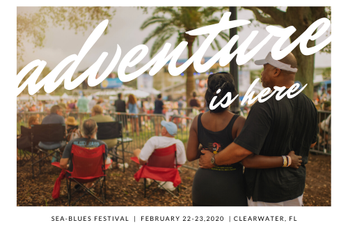 Adventure is Here, Sea-Blues Festival, February, 22-23, 2020, Clearwater FL Postcard