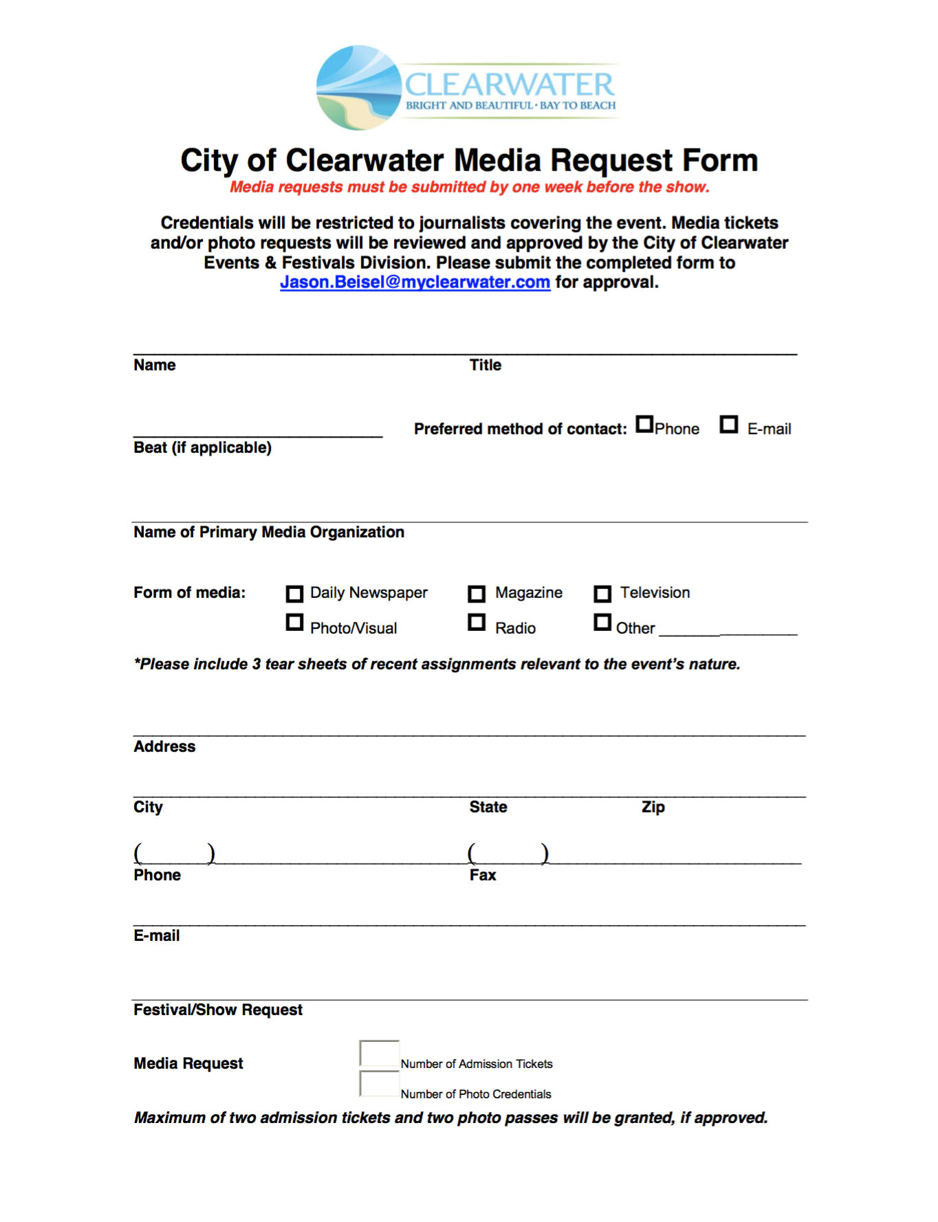 media request form clearwater fl special events